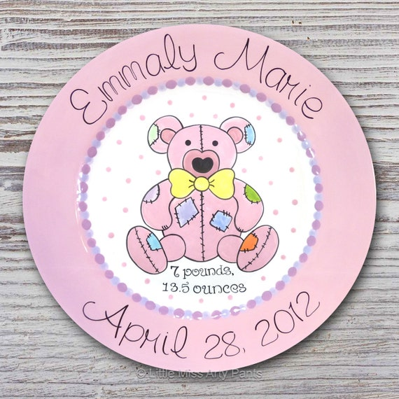 Personalized Birth Plates - Personalized Ceramic Baby Plate - Personalized Baby Plates - Baby Shower Plates - Patchwork Teddy Bear Design