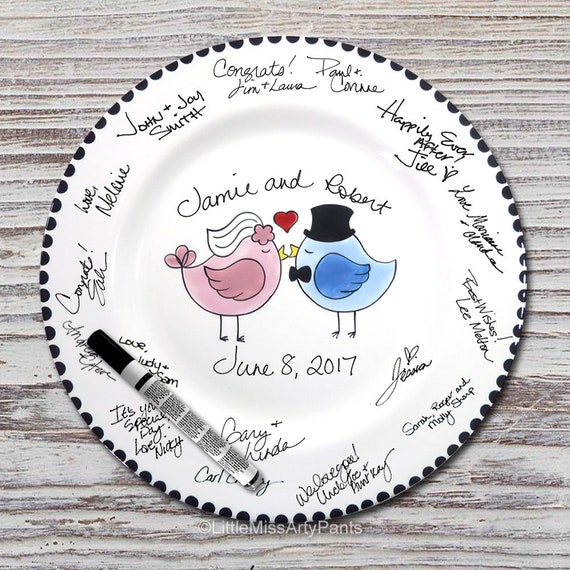 Hand Painted Signature Wedding Plate - Love Birds Design - Wedding plate - Signature Wedding Plate - Guest book plate