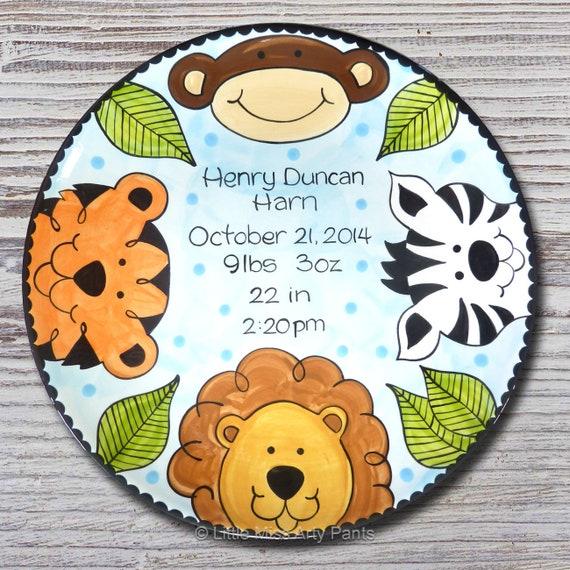 Personalized Birth Plates - Personalized Ceramic Baby Plate - Personalized Baby Plates - Baby Shower Plates- Jungle Animal Design - New Baby