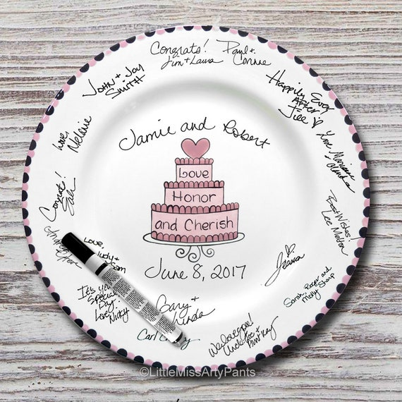 Hand Painted Signature Wedding Plate - Cherish Wedding Cake Design -Wedding plate -Signature Wedding Plate -Guest book plate - Wedding gift