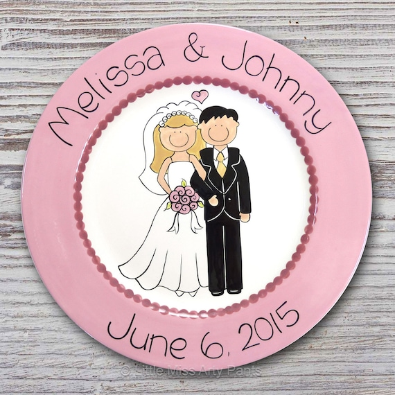 """Personalized Wedding Plates - Anniversary Plate - Hand Painted Ceramic Wedding Plate - Personalized Wedding Plate - 11"""" Happy Couple Design"""