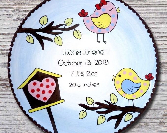 Personalized Birth Plates - Personalized Ceramic Baby Plate - Personalized Baby Plates - Baby Shower Plates - Little Birdie Design -New Baby