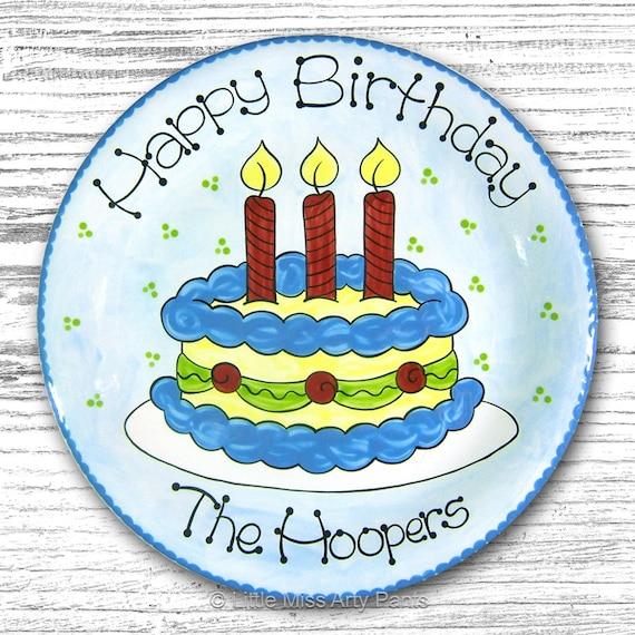 Personalized Birthday Plates - Happy Birthday Plate - 1st Birthday Plate - Hand painted Ceramic Birthday Plate - Whimsical Birthday Cake