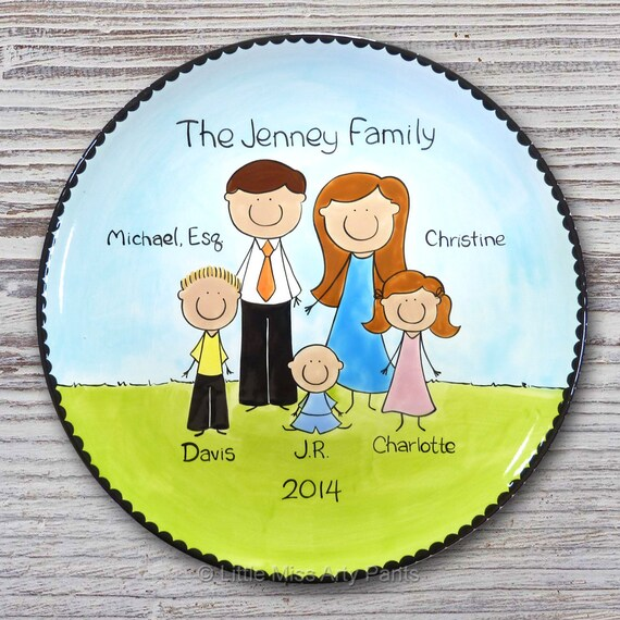 Personalized Family Portrait Plate - Custom Family Plate - Personalized Family People Plate - Personalized Family People Plates