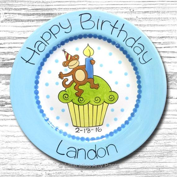 Personalized Birthday Plates - Happy Birthday Plate - 1st Birthday Plate - Hand painted Ceramic Birthday Plate - Monkey Cupcake Design
