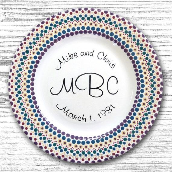 Personalized Wedding Plates - Hand Painted Ceramic Wedding Plate - Personalized Wedding Plate - Mandala Monogram Wedding Plate