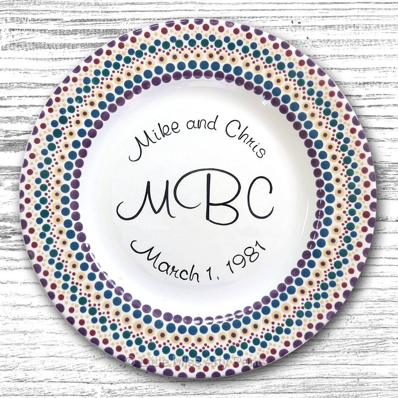Personalized Wedding Plates Hand Painted Ceramic Wedding Plate