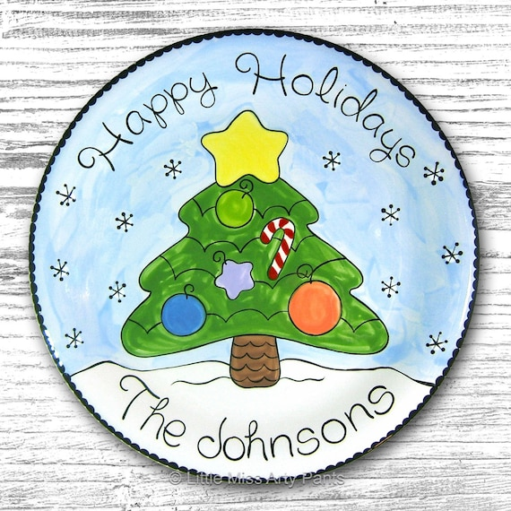11 inch Personalized Christmas Plate - Christmas Tree - Personalized Christmas Plates - Christmas Plate - hand painted plate - Holiday Plate