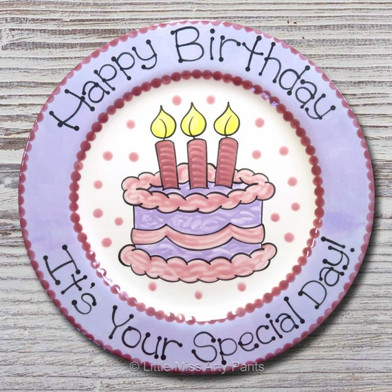 Birthday Cake Design - Happy Birthday Plate - 1st Birthday - Birthday Plate - Birthday Candles