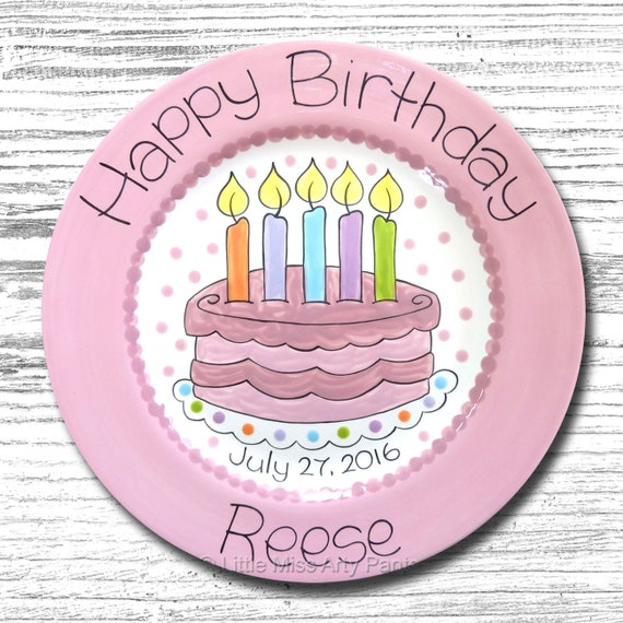 Personalized Birthday Plates - Happy Birthday Plate - 1st Birthday Plate - Hand painted Ceramic Birthday Plate - Fancy Birthday Cake Design