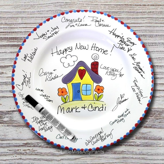 Hand Painted Signature Plate - Happy Housewarming Design - Guest Book Plate - Housewarming plate - Housewarming Gift