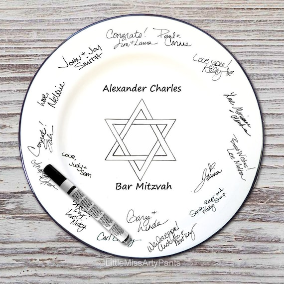 Hand Painted Signature Plate - Star of David Design - Guest Book plate
