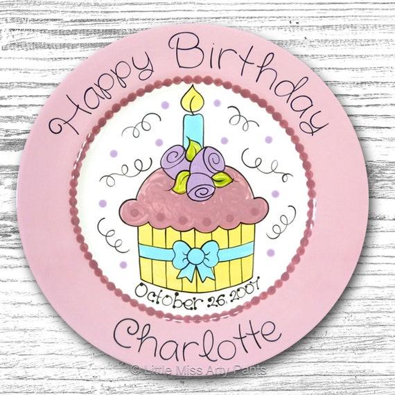 Personalized Birthday Plates - Happy Birthday Plate - 1st Birthday Plate - Hand painted Ceramic Birthday Plate - Pretty Cupcake Design