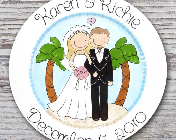 Personalized Wedding Plates - Hand Painted Ceramic Wedding Plate - Personalized Wedding Plate - Happy Couple Palm Tree Design