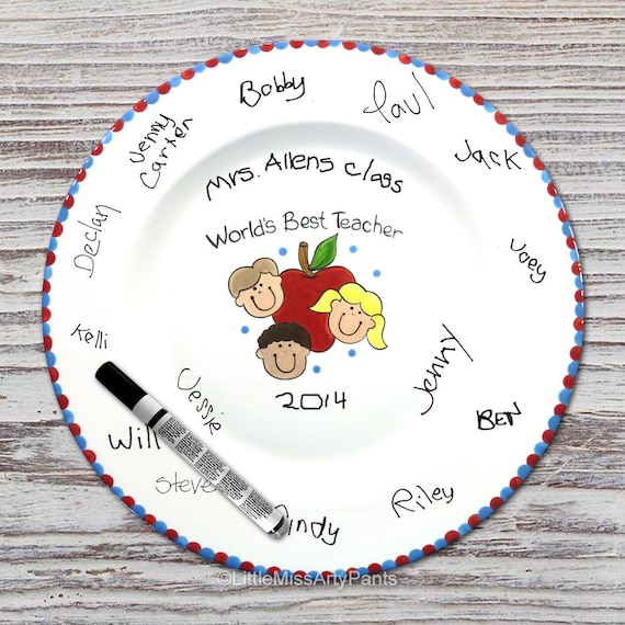 Hand Painted Signature Plate - Apple with Kids Design - Teacher Plate- Teacher Signature Plate - Teacher Gift -Teacher Apple