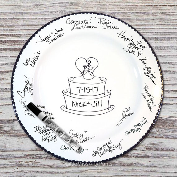Ready to Ship - Hand Painted Signature Wedding Plate - Cake Topper Design