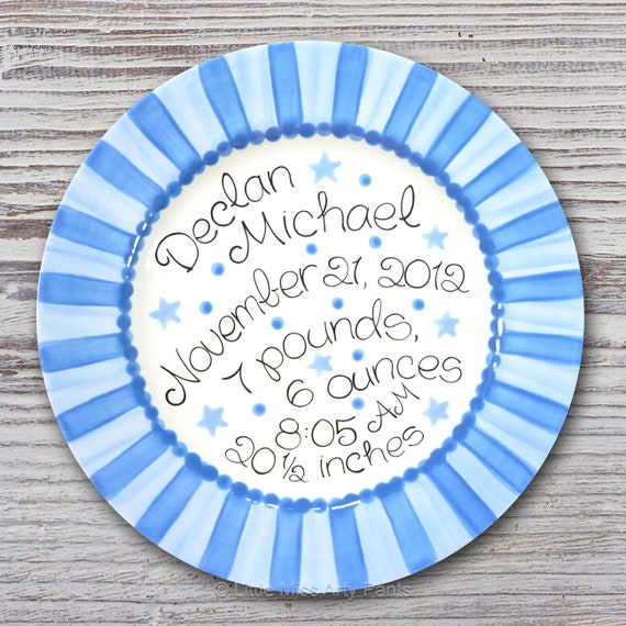 Personalized Birth Plates - Personalized Ceramic Baby Plate - Personalized Baby Plates - Baby Boy/ Baby Girl Design Hearts and Stars