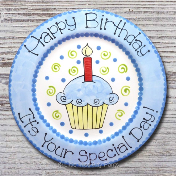 Birthday Cupcake Design Plate - Blue - Happy Birthday Plate- 1st Birthday- Birthday Plate- Birthday Cupcake