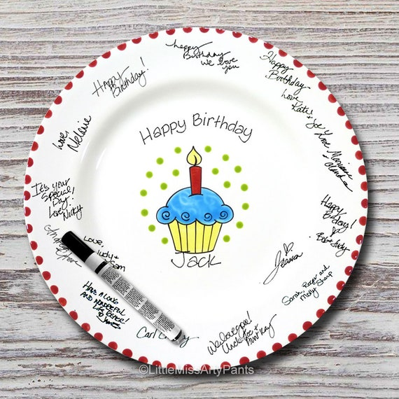 Hand Painted Signature Birthday Plate- Bright Cupcak - Happy Birthday Plate- 1st Birthday - Birthday Cupcake - Birthday Gift