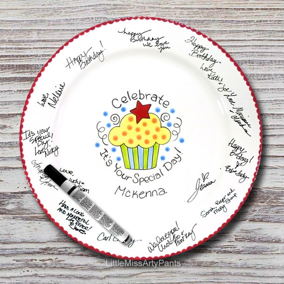 Hand Painted Signature Birthday Plate - Celebrate Cupcake - Happy Birthday Plate - 1st Birthday - Birthday Cupcake