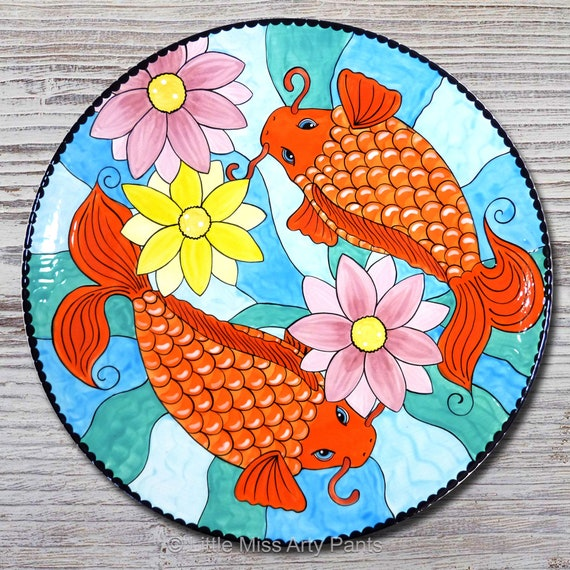 Hand painted Koi Fish 15 inch Platter