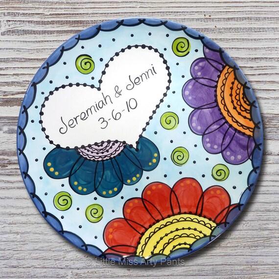 Personalized Wedding Plates - Ceramic Wedding Plates - Hand Painted Ceramic Wedding Plate - Flower Mandala Wedding Plate