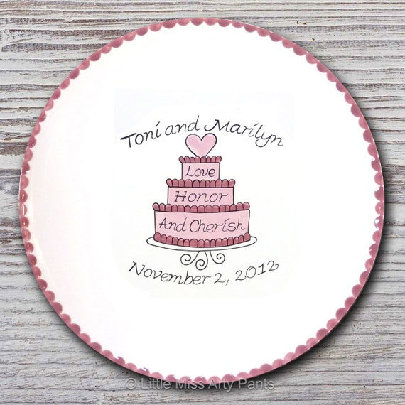 Personalized Wedding Signature Plate - Guest Book Plate - Wedding Gift- Personalized Wedding Plate - Signature Platter - Cherish Cake Design