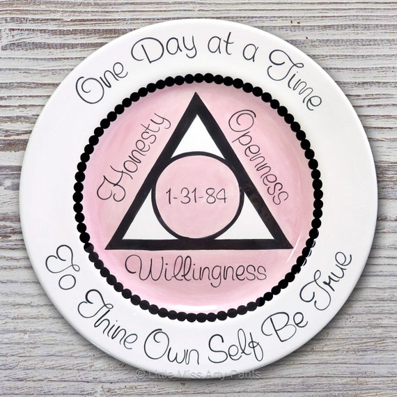 AA Alcoholics Anonymous Personalized AA Birthday/Recovery Plate - Al-Anon - Serenity - Honesty, Openness, Willingness - 11 inch plate