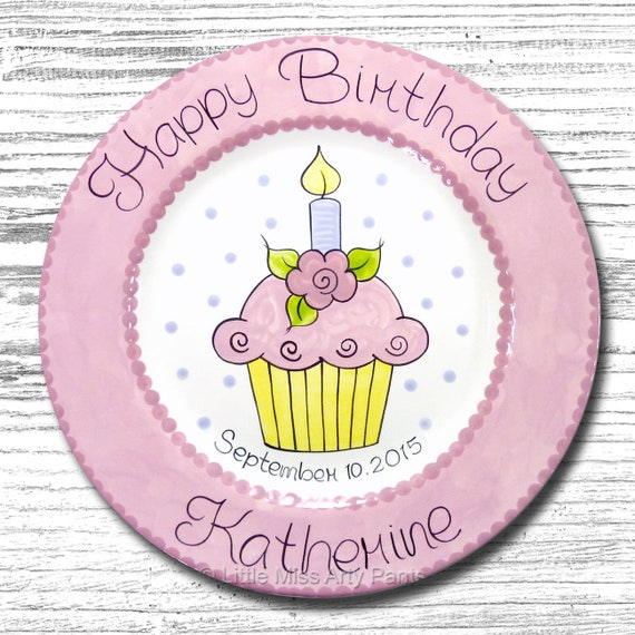 Personalized Birthday Plates - Happy Birthday Plate - 1st Birthday Plate - Hand painted Ceramic Birthday Plate - Flower Cupcake Design