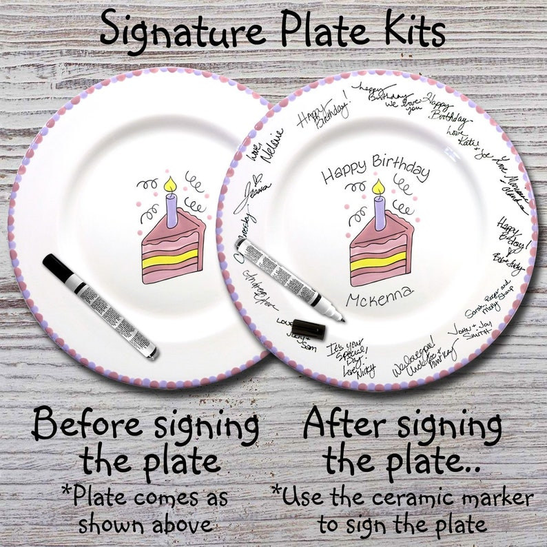 Hand Painted Signature Birthday Plate Happy Birthday Plate 1st Birthday Birthday Cake Birthday Gift Slice of Cake