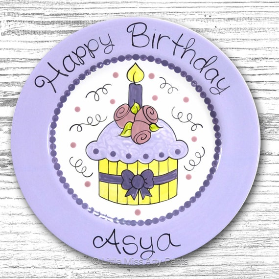 Personalized Birthday Plates - Happy Birthday Plate - 1st Birthday Plate - Hand painted Ceramic Birthday Plate - Pretty Cupcake Design