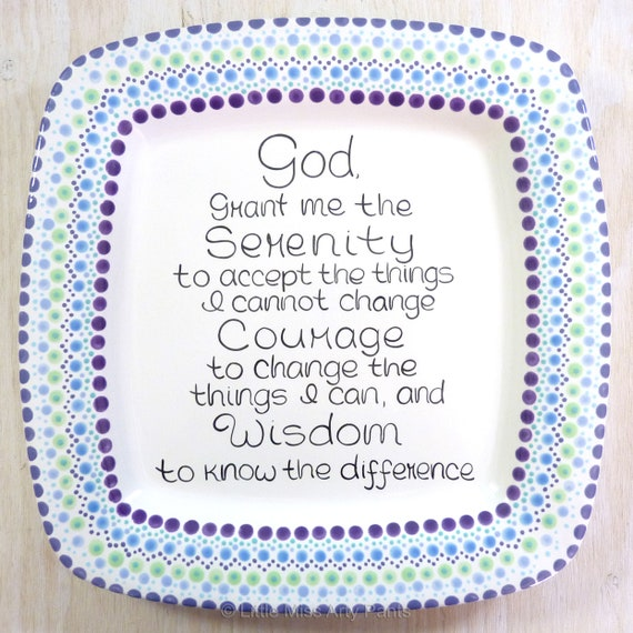 "Serenity Prayer Platter - AA/Al-Anon Recovery Mandala Platter - 12.5"" Square Platter - Recovery gift"