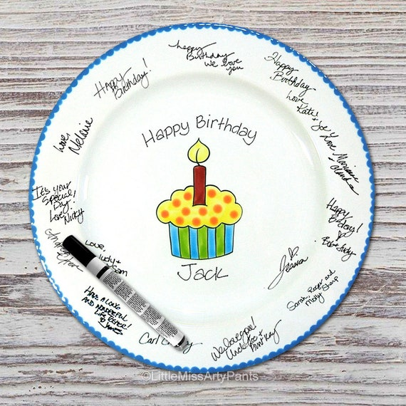 and Painted Signature Birthday Plate - Funky Cupcake - Happy Birthday Plate- 1st Birthday - Birthday Cupcake - Birthday Gift