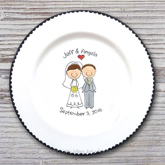 Personalized Wedding Signature Plate - Guest Book Plate - Wedding Gift- Personalized Wedding Plate - Signature Platter - Cute Couple Design