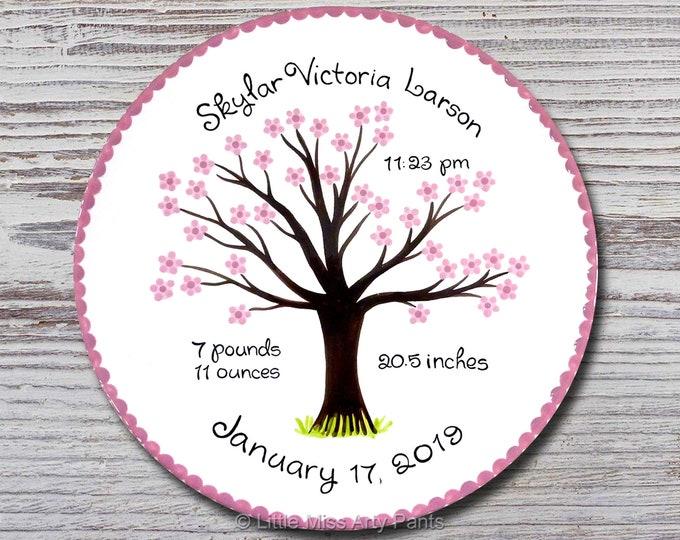 Personalized Birth Plates - Personalized Ceramic Baby Plate - Personalized Baby Plates - Baby Shower Plates - Cherry Tree Design - New Baby