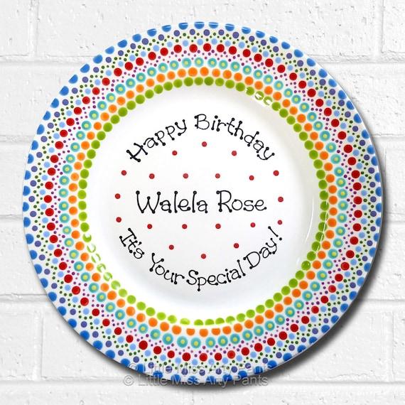 Personalized Birthday Plates - Happy Birthday Plate - 1st Birthday Plate - Hand painted Ceramic Birthday Plate - Mandala Birthday Plate