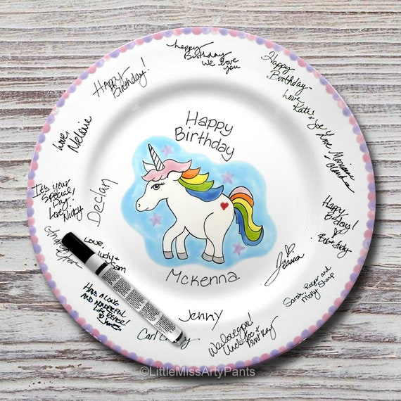 Hand Painted Signature Birthday Plate - Hand Painted Signature Baby Shower Plate - Unicorn Design - Happy Birthday Plate - 1st Birthday