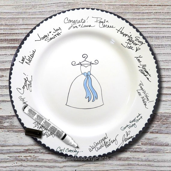 Hand Painted Signature Wedding Bridal Shower Plate - Wedding Dress  - Wedding plate - Signature Wedding Plate - Something Blue