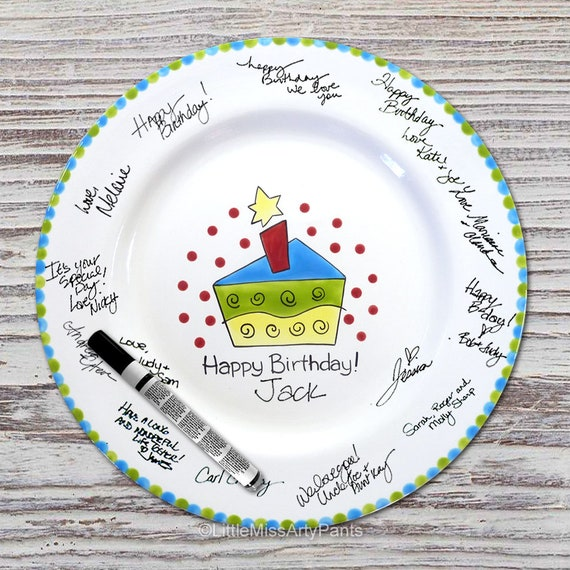 Hand Painted Signature Birthday Plate - Funky Cake - Happy Birthday Plate - 1st Birthday - Birthday Cake - Birthday Gift