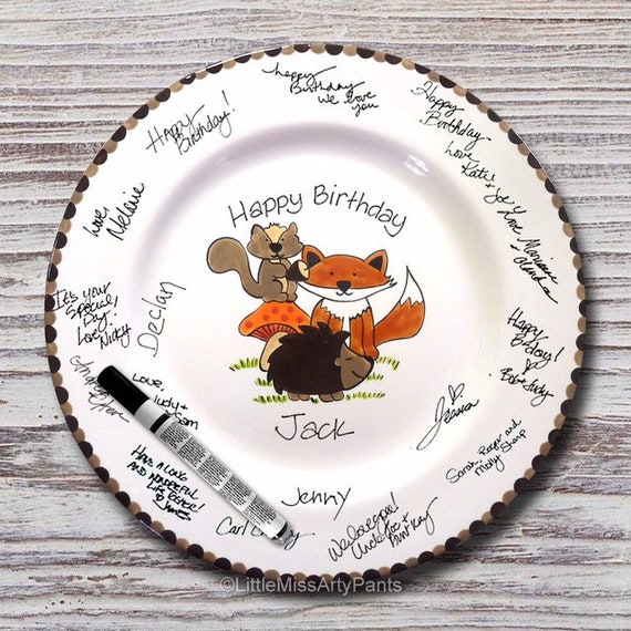 Personalized Birthday Signature Plate - Personalized Birthday Plate - Happy Birthday Plate - 1st Birthday plate - Woodland Animal Design