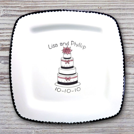 Personalized Wedding Signature Plate - Guest Book Plate - Wedding Gift- Personalized Wedding Plate - Signature Platter - Layer Wedding Cake