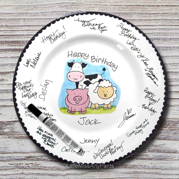Hand Painted Signature Birthday Plate - Hand Painted Signature Baby Shower Plate - Farm Animal Design - Happy Birthday Plate - 1st Birthday