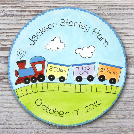 Personalized Birth Plates - Personalized Ceramic Baby Plate - Personalized Baby Plates - Baby Shower Plates - Baby Train Design - New Baby