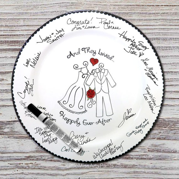 Hand Painted Signature Wedding Plate - Wedding Attire Design - Wedding plate - Signature Wedding Plate - Guest book plate