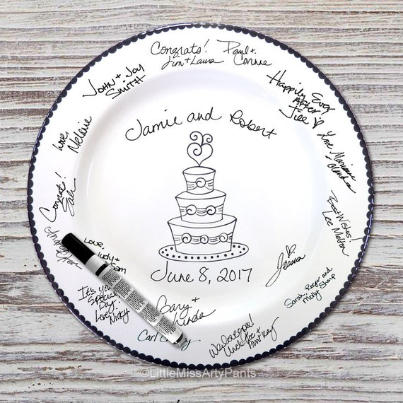 Hand Painted Signature Wedding Plate - Wedding Cake Design - Wedding plate - Signature Wedding Plate - Guest book plate