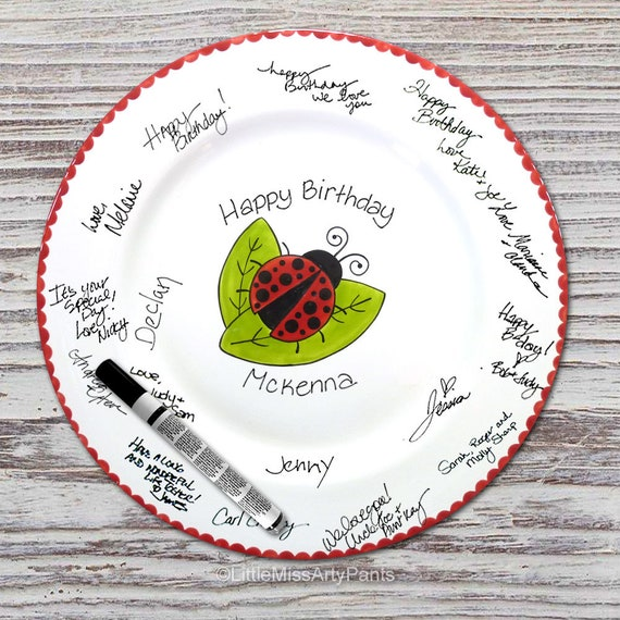 11 inch Ready to Ship - Hand Painted Signature Birthday Plate - Ladybug Design - Guest Book Plate - Lady Bug -Birthday Plate