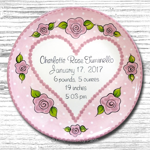 Personalized Birth Plates - Personalized Ceramic Baby Plate - Personalized Baby Plates - Baby Shower Plates - Sweet Heart Design - New Baby