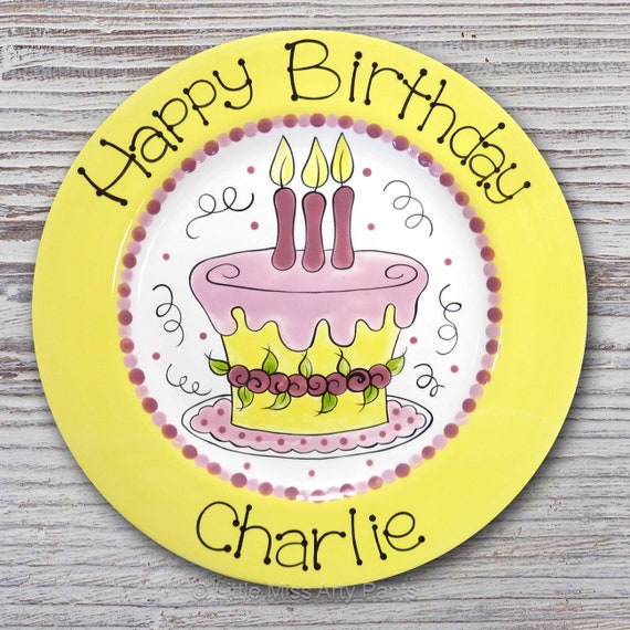 Personalized Birthday Plates - Happy Birthday Plate - 1st Birthday Plate - Hand painted Ceramic Birthday Plate - Little Flower Cake Design