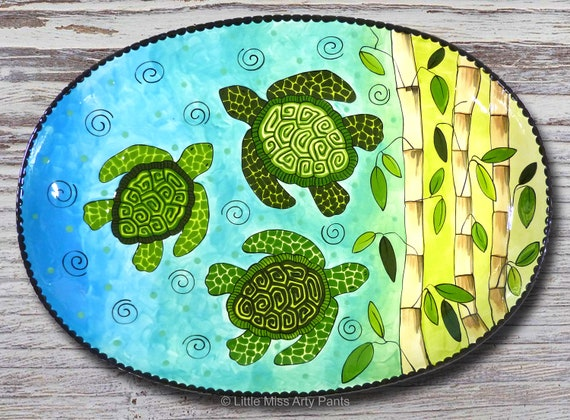 Hand painted Turtle and Bamoo 19 inch oval Platter