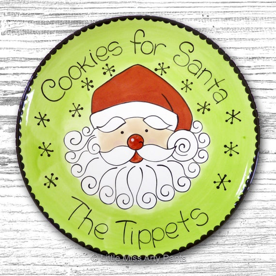 Personalized Christmas Plate - Cookies for Santa Design - Personalized Christmas Plates